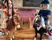 American Girl Doll 2 Horse Stable Saddle Clothing Tack Fence