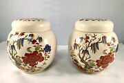 Vintage Pair Sadler England Chinoiserie Tea Caddy Peony And Fence Pattern C1950's