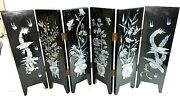 Chinese Divider Mother Of Pearl Inlay 6 Panel Mini Wooden Dividers Screen