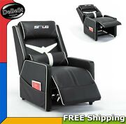 Black Leather Pillow Top Home Theater Recliner W/ Push-back Chair Sillon Gaming