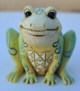 Unique Jim Shore Stone Resin Carved Green Frog -best Example On Ebay 2 1/2
