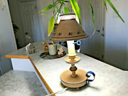 Vintage 60s 70s Tole Table Lamp Metal Shade 7.1w
