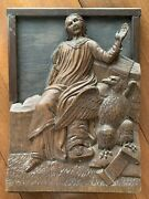 17thc Carved Wood Relief Of Saint Mark Apostle And Eagle Plaque Panel Antique