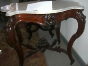 Antique Turtle Top Table Rococo Revival White Marble1800and039s