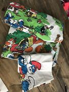 Smurfs Vintage 3 Piece Twin Sheet Set Flat Fitted Andnbsppillowcase Mushroom Fabric
