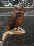 Chainsaw/hand Sculpture Wooden Owl Old Smokey Wise Old Dude..