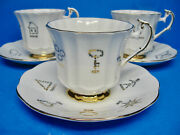 Vintage Taylor And Kent Red Rose Tea Cup Of Fortune Teacup And Saucer Sets 12 3