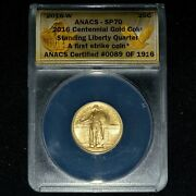 2016-w Gold Standing Liberty Quarter ✪ Anacs Sp-70 ✪ 25c 1/4 1st Strike◢trusted◣