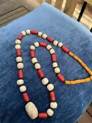 Vintage African Trading Necklace, With Coral, White Africa And Rust Beads