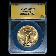 1987 50 Gold American Eagle ✪ Anacs Ms-70 ✪ 1 Oz Ozt Unc Bu L@@k Now ◢trusted◣
