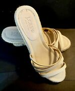 J. Crew Espadrille Strap Wedges Size 6 Taupe Tan Beige New Italy