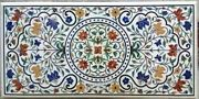 Multi Gemstones Inlaid Hallway Table Top White Marble Dining Room Table Top