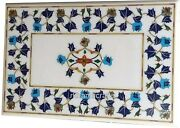 Handmade Patio Table Top Floral Border Pattern Inlaid Marble Dining Table Top