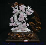 17.2 Chinese Natural Violet Xiu Jade Hand Carving Peach Flower Bird Decoration