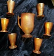 Jeannette Carnival Glass Vintage Marigold Pitcher And 6 Tumblers Crackle Pattern