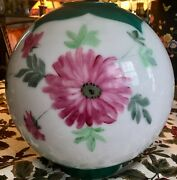 Vintage 9 Opal Glass Floral Hand Painted Gwtw Parlor Oil Lamp Shade Globe