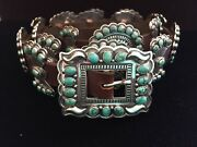 Native American Concho Belt-navajo Artist Gary Reeves-sterling Silver-turquoise