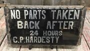 Wow Antique Beveled Glass And Metal Cp Hardesty Car Gas And Oil Service Station Sign