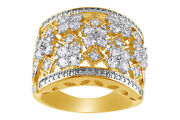 White Sapphire 14k Yellow Gold Over Sterling Silver Cluster Ring