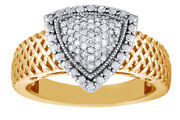 Diamond 14k Yellow Gold Over Sterling Silver Triangle Ring