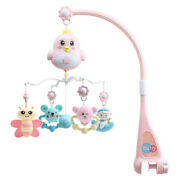 30xbaby Crib Mobile Crib Rattle Music Box Night Light Rotate Bed Pink T7l9