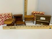 Miniature Furniture By Town Square, 5 Pieces Piano, Secretary, Fold Out Table,