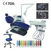 Dental Chair Unit Hard Leather + Three Way Syringe + Led Lamp + Doctor Stool