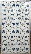 White Marble Utility Table Top Inlay Work Dining Table With Lapis Lazuli Stone