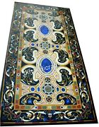 Rectangle Marble Lawn Table Top Stones Work Dining Table With Heritage Crafts