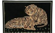 Black Marble Hall Room Table Top With Tiger Pattern Coffee Table Office Purpose