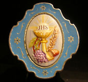 Italy 1960 Pill Box Ihs Monogram Christ Chalice Grapes, Wheat, Enameled Lovely