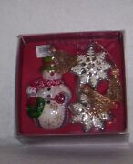 Waterford Marquis Wintertime Snowman And Snow Flakes Ornaments Set/3 Nib