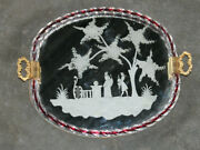 Vintage Italian 1970 Barovier Murano Etched Mirror Glass Serving Tray Plate