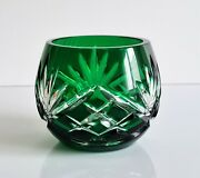 Faberge Odessa Emerald Green Cut To Clear Votive Candle Holder Signed