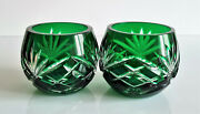 Two Faberge Odessa Emerald Green Votives, Candle Holders, Signed