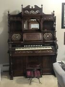Antique 1800andrsquos Story And Clark Pump Organ Made In Chicago W/ W.d. Allison Co Stool