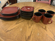 Set Of 16 Pieces Corelle Hearthstone Chili Red Plates Bowls Mugs Tableware Dish