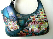 Anuschka Moonlit Amalfi Hand Painted Leather Zip-front Hobo Purse And Wallet - Nwt