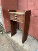 1900s American Cabinet Co Watchmakerand039s Work Bench Apothecary Entryway Industrial