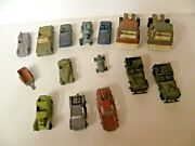 14 Old Metal Diecast Cars, Jeeps And Trucks Tootsie Toys