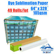 Pick-up 49 Rolls 105gsm 64 X 328andacute Dye Sublimation Paper For Heat Transfer Print