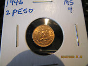 1945 Gold Mexican 2 Peso Mint State +++++