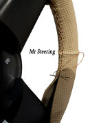 For Volvo 900 Series 940 Beige Perforated Leather Steering Wheel Cover 1990-1998