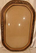 Antique Victorian Bubble Glass Frame 11 3/4 X 17 3/4 Holds 9 3/4 X 15 3/4