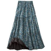 Womenand039s Reversible Broomstick Skirt - Blue Lagoon Paisley Print Reverse To Black