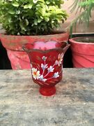 1820's Ancient Old Rare Hand Carved Red Glass Oil Lamp Flower Print Lamp Holder