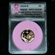 2018-w 5 Gold Breast Cancer Awareness ✪ Anacs Pr-70-dcam ✪ Fdoi Rose ◢trusted◣