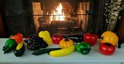 15 Murano Style Art Glass Fruit Vegetables Grapes, Pumpkin, Tomatoes And More