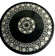 Round Black Marble Kitchen Table Top Mother Of Pearl Inlay Work Coffee Table Top