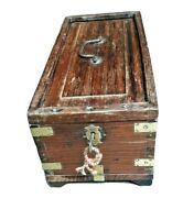 Old Indian Mughal Wooden Box Brass Fitted 5 Compartment With Lock And Key.
